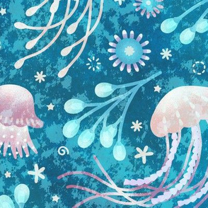 Majestic Bioluminescent Jellies on Teal (Large Scale)