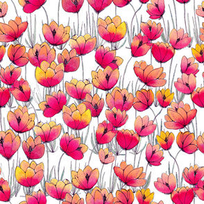 Pink yellow floral meadow