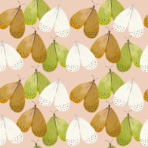 Little butterflies green orange