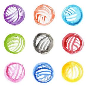 Rainbow watercolor yarn balls - large