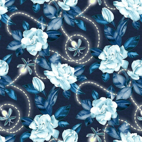 Flowers and Fireflies - midnight sapphire blue