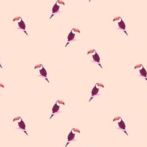 Minimal Toucan Pattern on Peach Background
