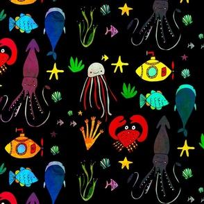 bio-luminescence sea life black