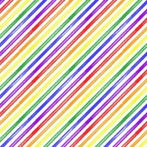 (small scale) Rainbow marker stripes - LGBTQ - Pride - diagonal stripes - LAD20