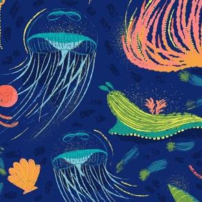 LARGE SCALE WALLPAPER Dreamy Mermaids // Bioluminescent Sea Life // Reef, Jelly Fish, Starfish, Shells, Anemones, Squid, Octopus, Slug, Kelp, Coral // © Zirkus Design