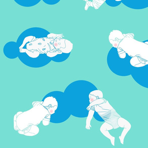 My babies sleeping_Blue clouds on water green