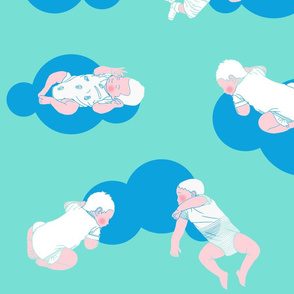 My babies sleeping_Blue clouds on water green _ pink