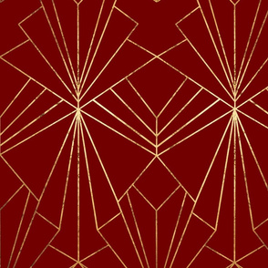 Art Deco on Crimson Red - Large Scale