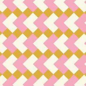 Geometric diamonds  pink on mustard