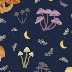 Mushrooms in the Moonlight with Moths - large scale