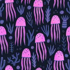 Bright pink jellyfishes