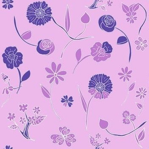 Hand-Drawn Flowers Lilac Dream