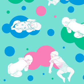 My babies sleeping_Colours clouds _ circles on water green
