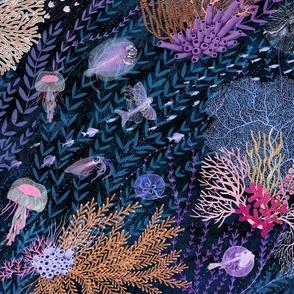 Deep sea creatures with bioluminescence