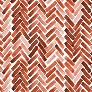 burnt orange watercolor herringbone