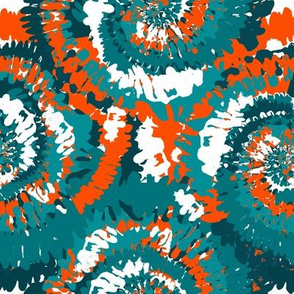 miami tie dye fabric - football colors