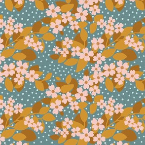 Flowering dogwood - orange teal small scale