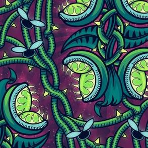 ★ ALIEN VENUS FLY TRAP ★ Green & Purple, Large Scale / Collection : Venus Fly Trap – Carnivorous Plant Print