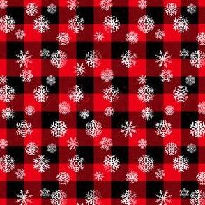 Buffalo Plaid Snowflakes Black Red 1/2