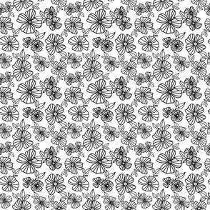 Retro Florals - Black + White