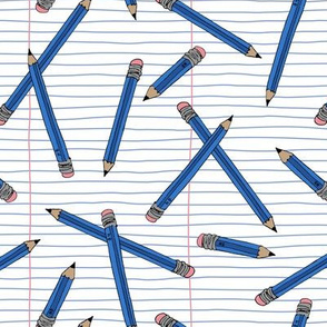 Pencils and paper - Blue