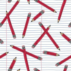 Pencils and paper - Red