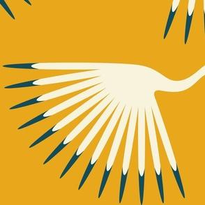 "Art Deco Cranes - Sunshine - 24"" Fabric and Wallpaper"