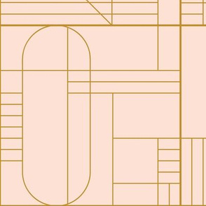 LARGE lines and space_ pale peach and gold