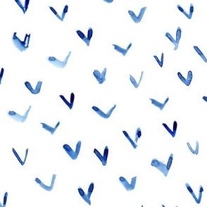 Blue vibes - watercolor brush stroke check marks for modern home decor, bedding, nursery