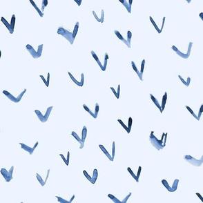 Blue vibes - watercolor brush strokes check marks for modern minimal home decor, bedding, nursery