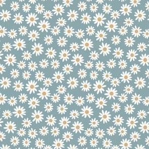 TINY daisy print fabric - daisies, daisy fabric, baby fabric, spring fabric, baby girl, earthy - dusty blue