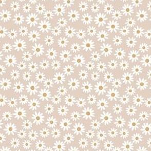 TINY daisy print fabric - daisies, daisy fabric, baby fabric, spring fabric, baby girl, earthy - tan