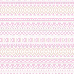 Ethnic colorful boho aztec design summer geometric triangles mayan mudcloth print pink beige