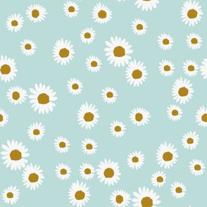 daisy fabric - cute floral daisies design - light blue