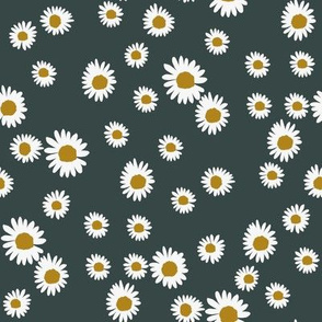 daisy fabric - cute floral daisies design - dark teal