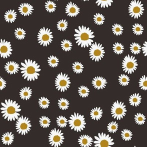 daisy fabric - cute floral daisies design - almost black