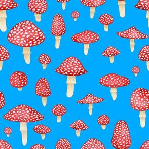 Red Mushrooms on Blue