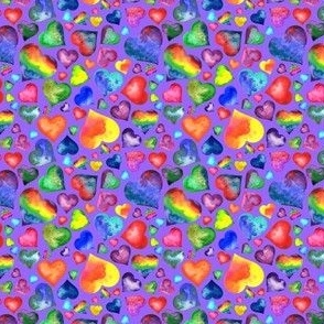 Small Rainbow Hearts Lavender