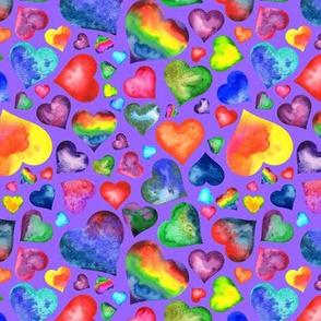 Rainbow Hearts on Lavender