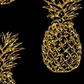 Gold Glitter Classic Pineapples / Black / Large Scale