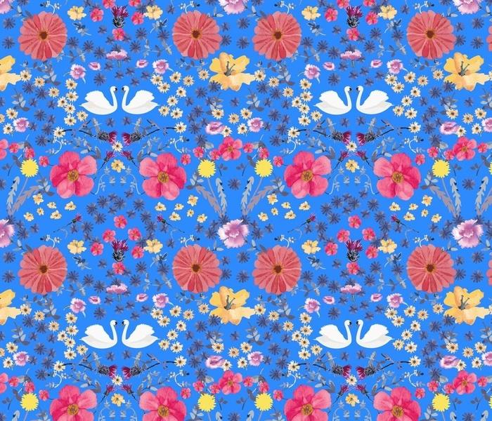 Swan Millefleur Blue