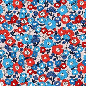 Flower garden romantic vintage boho style victorian leaves and flowers usa 1th of july american flag red blue