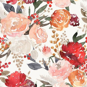 """Lavish"" - Fall & Winter Watercolor Floral - Off White"