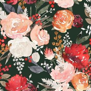 """Lavish"" - Fall & Winter Watercolor Floral - Hunter Green"