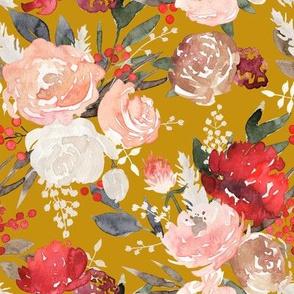 """Lavish"" - Fall & Winter Watercolor Floral - Mustard"