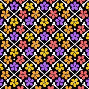Cross Bones & Pretty Pinwheel Flowers
