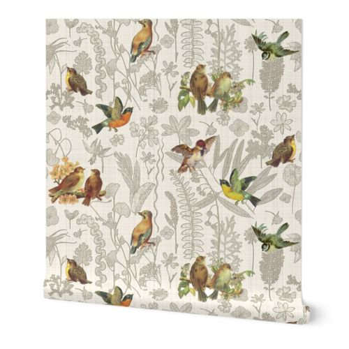 Birds Off The Wall Toile Linen