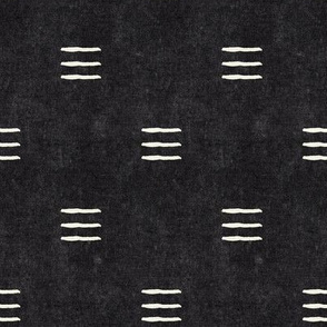 (med scale) triple dash - mud cloth - onyx - mudcloth farmhouse tribal - C20BS