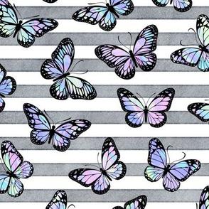 Unicorn Monarch Butterflies on Grey Stripes