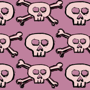 Pirate's Life - Pink Subtle Skulls and Crossbones - Large